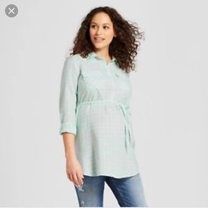 Light Green Plaid Maternity Top